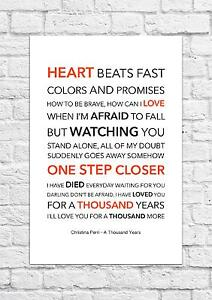 3d808677d318 Christina Perri - A Thousand Years - Song Lyric Art Poster - A4 Size ...