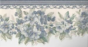 Wallpaper-Border-Die-Cut-Edge-Blue-and-Green-Floral-Violets-with-Scroll-Molding