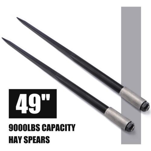 49 9000 lbs Hay Spears Nut Bale Spike Fork Tine Black pair Square Wide Tine BPT