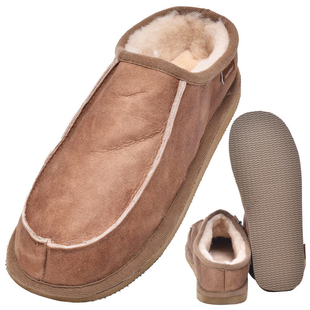 Uomo Gents Genuine Soft Thick Pelle di Pecora Mule graffi Pantofole con suola rigida Chestnut