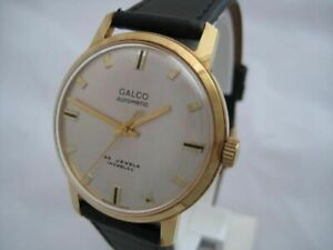 NOS NEW SWISS MADE AUTOMATIC GOLD PLATED MEN'S GALCO WATCH 1960'S