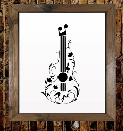 Acoustic Guitar Flower Pattern Mylar Airbrush Painting Wall Art Crafts Stencil