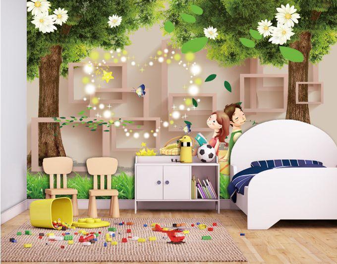 3D bella albero 7 Parete Murale Foto Carta da parati immagine sfondo muro stampa