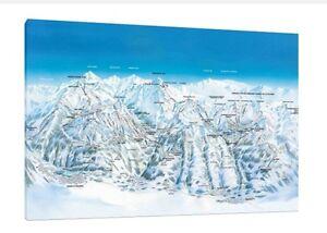 Les Arcs La Plagne Ski Map 30x20 Inch Canvas Snowboarding