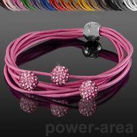 Shamballa Leder Armband Strass farbig Armkette Magnetverschluss - versch. Farben