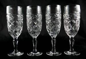 4-Heavy-Vintage-London-Lead-Crystal-Champagne-Flutes-Glasses-2-sets-available