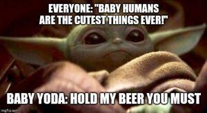 "BABY YODA MEME ""HOLD MY BEER"" FRIDGE MAGNET 5' X 3.5'   eBay"