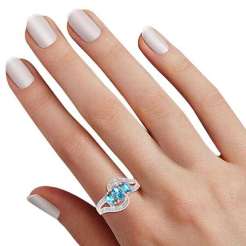 Blue /& Topaz 14k Rose Gold Over Silver 3-Stone Bypass Ring