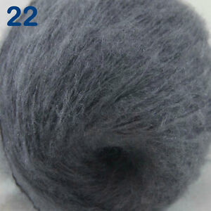 Sale-1ball-DK-MOHAIR-50-Angora-goats-Cashmere-50-silk-Yarn-Knitting-Dark-Grey