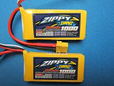 2 ZIPPY 1000mAh 2S 7.4v 25-35C LIPO BATTERY XT60 CAR TRUCK HELI PLANE QUAD BUGGY