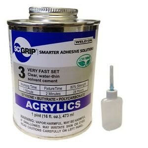 Weld-On 3 Acrylic Adhesive (Pint) and Applicator Bottle with Needle