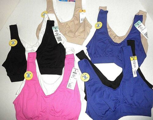 NWT Hanes 2-Pk Seamless SoftCup Pullover Bras H893 Small Medium Large XL