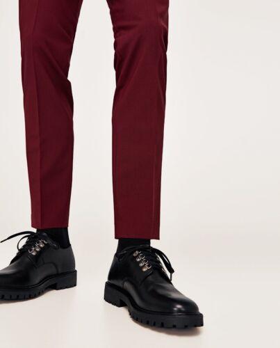 Suole nera scarpe spesse cingolate in Uk9 Eu43 pelle Zara vera Nuove qgT7xwOC
