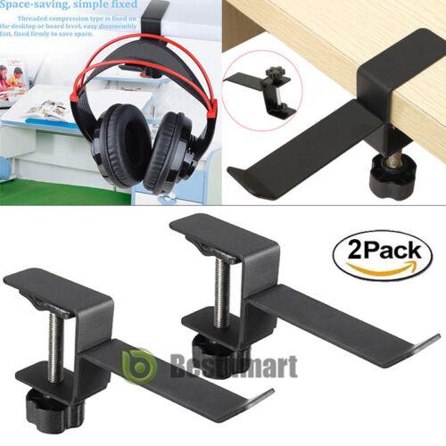 2x Steel Headset Earphone Headphone Holder Hanger Stand Table Clamp Clip W//Screw
