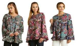 UMGEE-Womens-Floral-Pleated-Flowy-Boho-Long-Bell-Sleeve-Chic-Top-Blouse-S-M-L