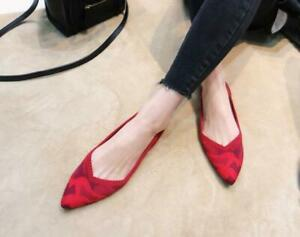 Womens-Pointed-Toe-Knitting-woven-Slip-on-Casual-Ballet-Flats-Loafer-Shoes-0412