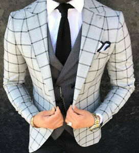 Designer-Gentleman-Herrenanzug-Grau-Schwarz-Kariert-Sakko-Weste-Tailliert-Slim