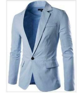 NEW-Men-039-s-Casual-Jacket-Slim-Spring-Single-Breasted-Coat-Blue