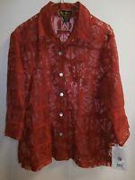 Mirasol Rayon Linen Red Burnout Blouse Large