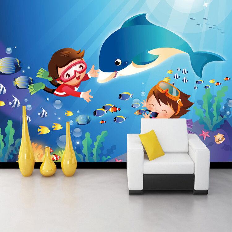 Papel Pintado Mural De Vellón Delfines Marinos Y Niños 25 Paisaje Fondo Pansize