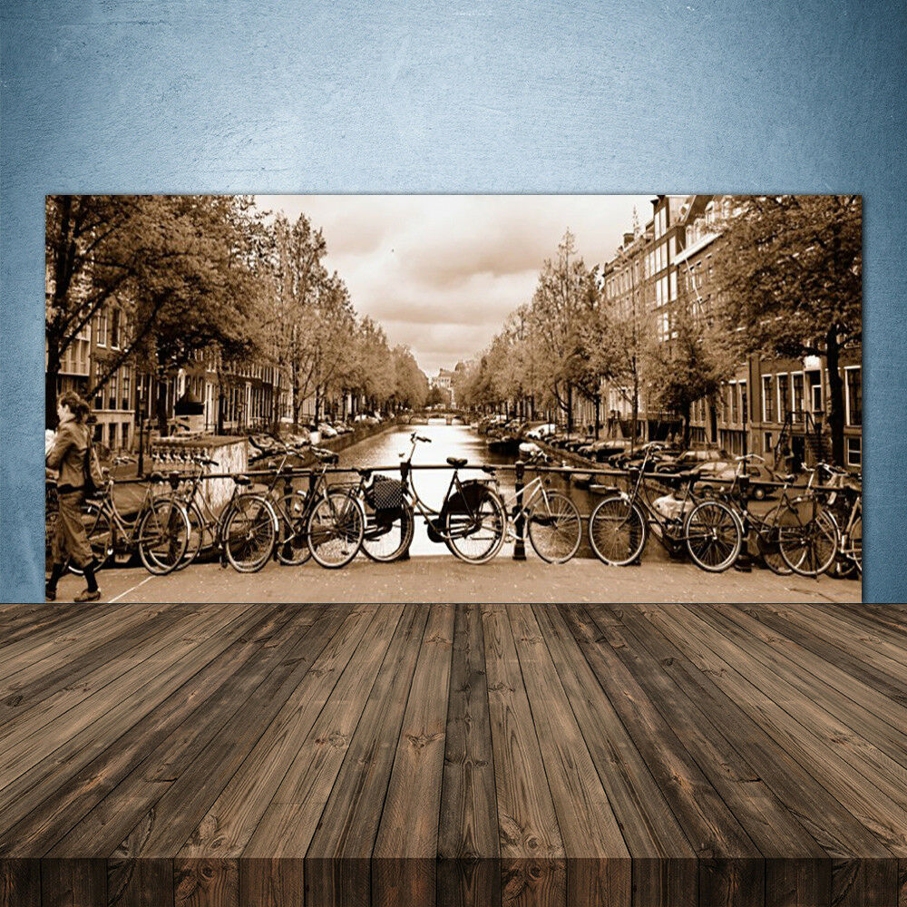 Crédence de cuisine en verre Panneau 140x70 Paysage Rivière Vélos Arbres
