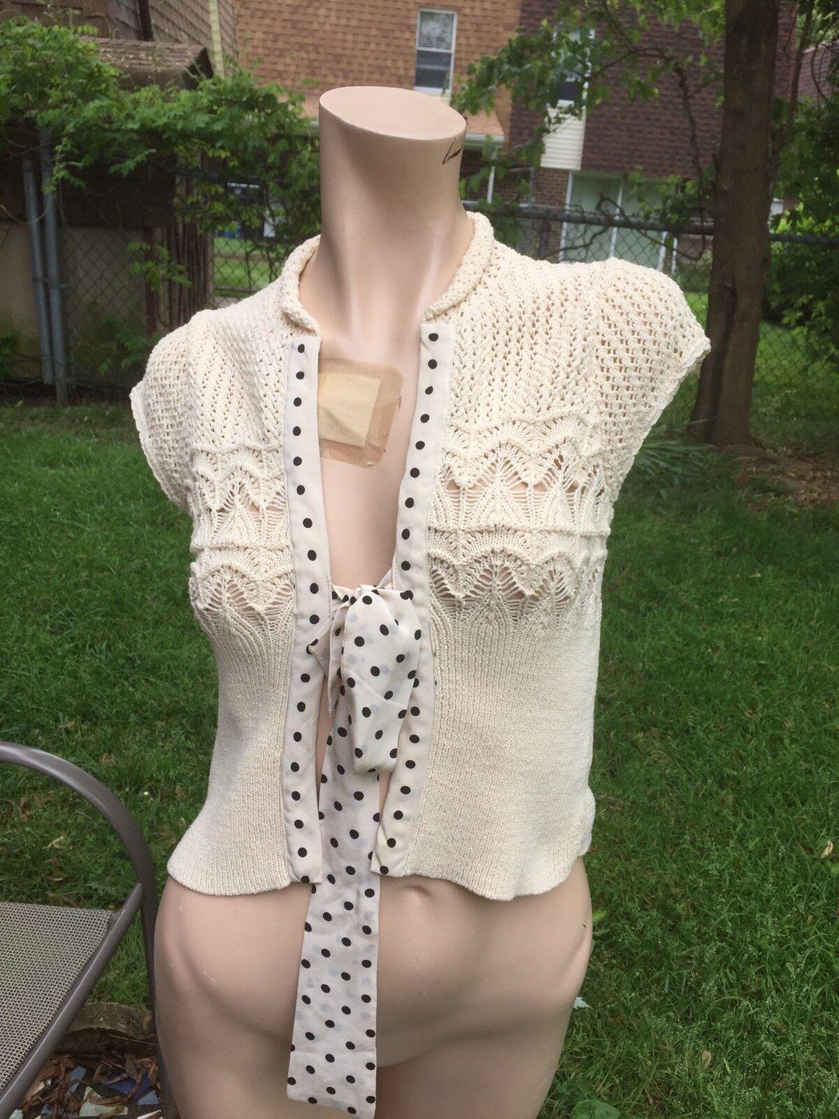 Maeve Ivory Knit Sleeveless sz.S Cardigan Sweater Shrug w silk polka dots trim