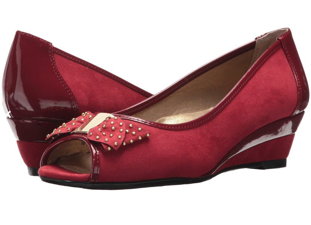 J Renee Azahar rouge Peep Toe Bow Wedge chaussures 12