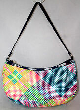 LE SPORTSAC Rainbow Multicolor Plaid Geometric Small Purse Handbag