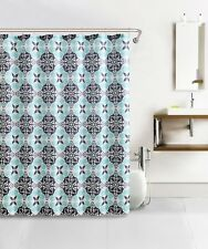 Blue Gray Charcoal Kaleidoscope Design Waffle Fabric Shower Curtain W 12 Hooks