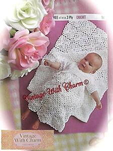 Vintage-Crochet-Pattern-Baby-039-s-Motif-Shawl-amp-Long-Dress-JUST-1-99