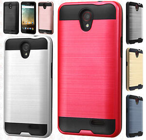 buy popular 170fb aafce Details about For Cricket ZTE Sonata 3 Z832 Brushed Metal HYBRID Rubber  Case Snap Phone Cover