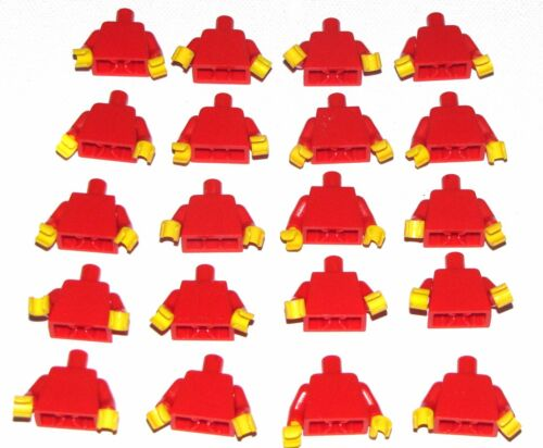LEGO LOT OF 20 RED MINFIGURE TORSOS W// ARM AND YELLOW HAND PIECES