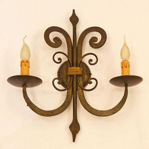 APPLIQUE-LAMPADA-LED-RUSTICA-ART-140-FERRO-BATTUTO-FORGIATO-ANTICO-WALL-LAMP
