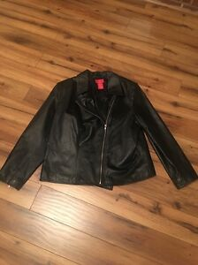 Women's Black Leather Bomber Jacket Size 18 W Oscar De La ...
