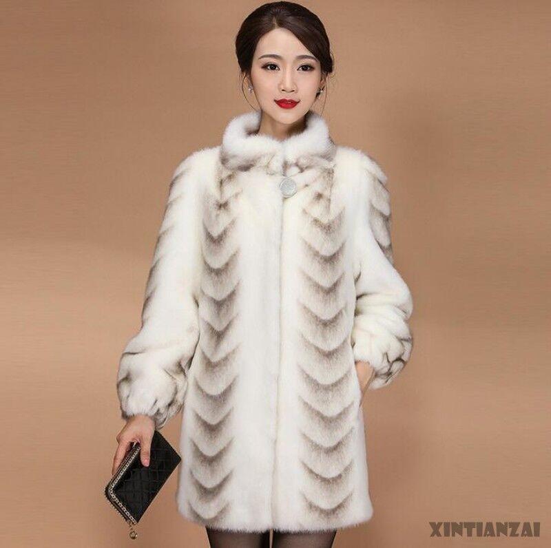 Womens Elegant Stand Collar Mid Long Whloe Real Mink Fur Coat Multicolor Winter