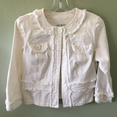 Coton Blanc Taille 3 Little Petit Manches 4 S Jacket Live Jean Fringe A Denim 7xRPwqIp
