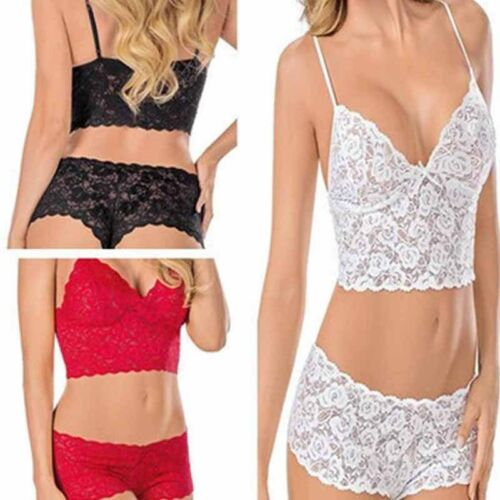 1 Set Women Undetwear Bra Set Lace Hollow Sleepwear Nightwear Crop Top Bottom