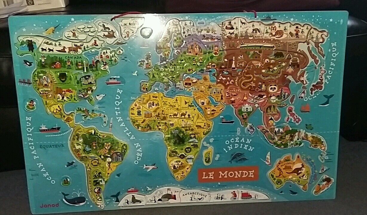 FRENCH Janod Magnetic World Map LE MONDE MONDE MONDE EX USED COND 77X 47 CMS 4145cb