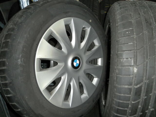 4 Gebraucht-Stahl-Räder BMW 3er mit  205/60R 16 92W Hankook S1 Evo2, 6mm
