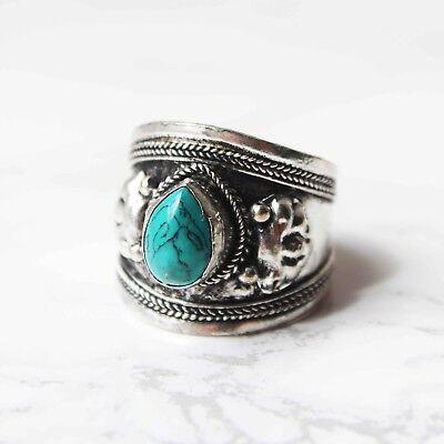 Tibetan Turquoise Gemstone Statement Ring Boho Bohemian Vintage Silver Jewellery
