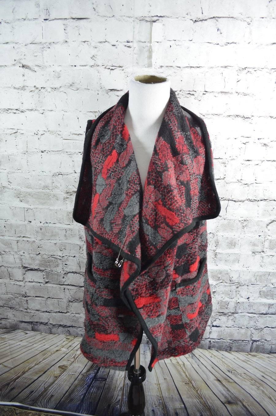 Eva Tralala Paris Knit Sleeveless Wool Blend Sweater Wrap Vest
