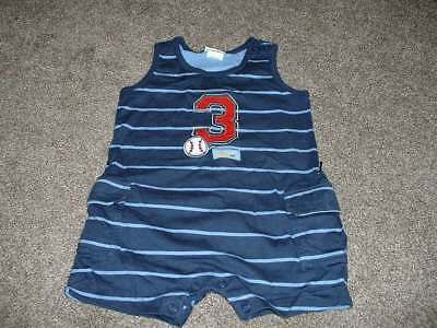 Carter's Baby Boys Blue Baseball Romper Outfit Size 9-12 M Months mos Summer
