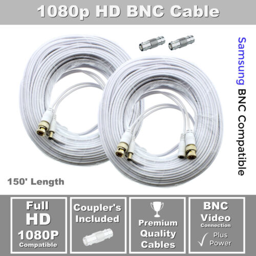 Lot of 2 150ft Samsung Wisenet Compatible HD Cable f// 5MP SDH-C85105 SDH-C84080