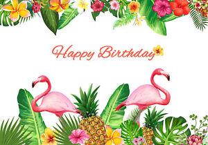 Happy Birthday Tropical Leaves Flamingo 7x5ft Vinyl Studio Backdrop Background Ebay