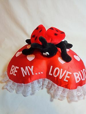 "VALENTINE PLUSH 10"" LADYBUG on Red Satin Heart Pillow BE MY LOVE BUG"