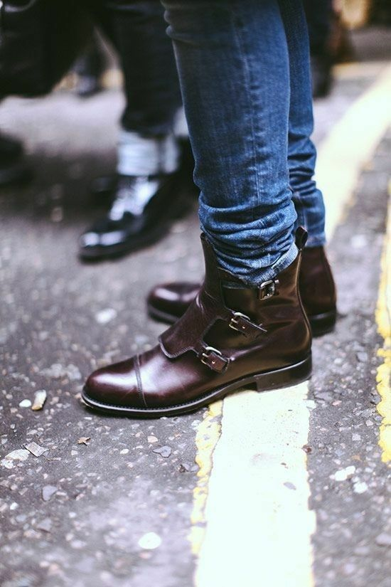 MEN HANDMADE ORIGINAL LEATHER Schuhe BROWN BUCKLE STYLISH ANKLE BOOTS