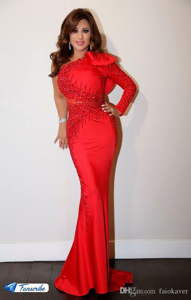 Sexy One Sleeve Mermaid Pageant Evening Dress Beaded Celebrity Prom Carpet Gown
