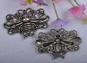 4PCS-tibet-silvre-bees-charm-pendant-45x29MM-JK0372