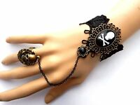 Jolly Roger Slave Bracelet Skull Crossbones Pirate Lace Cuff Ring Cameo Goth P4