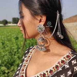 Indian-Traditional-Bollywood-Silver-Oxidized-Long-Jhumka-Jhumki-Earrings